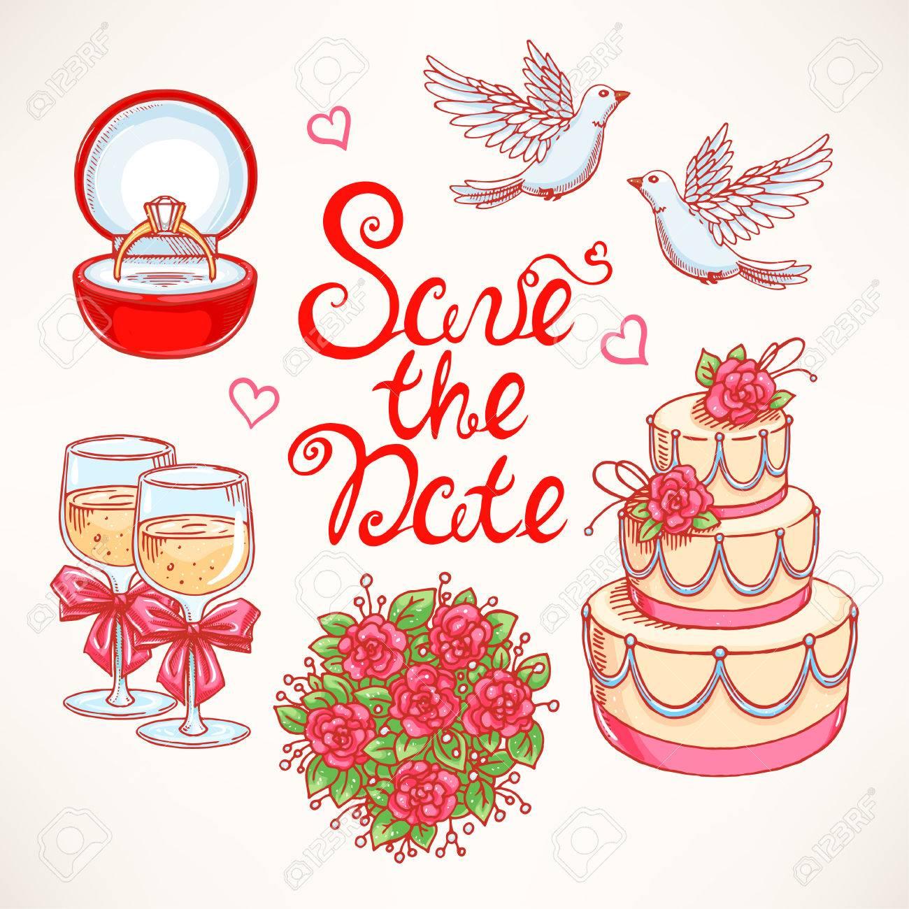 カップルのハト、ウェディング ケーキ、ブーケ、結婚式のためのかわいいセット。手描きのイラスト。