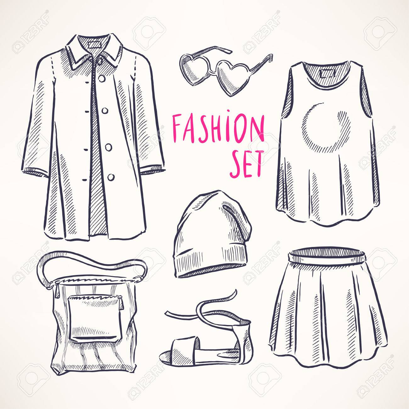 49cee52762c fashion set with women's clothing and accessories. hand-drawn..