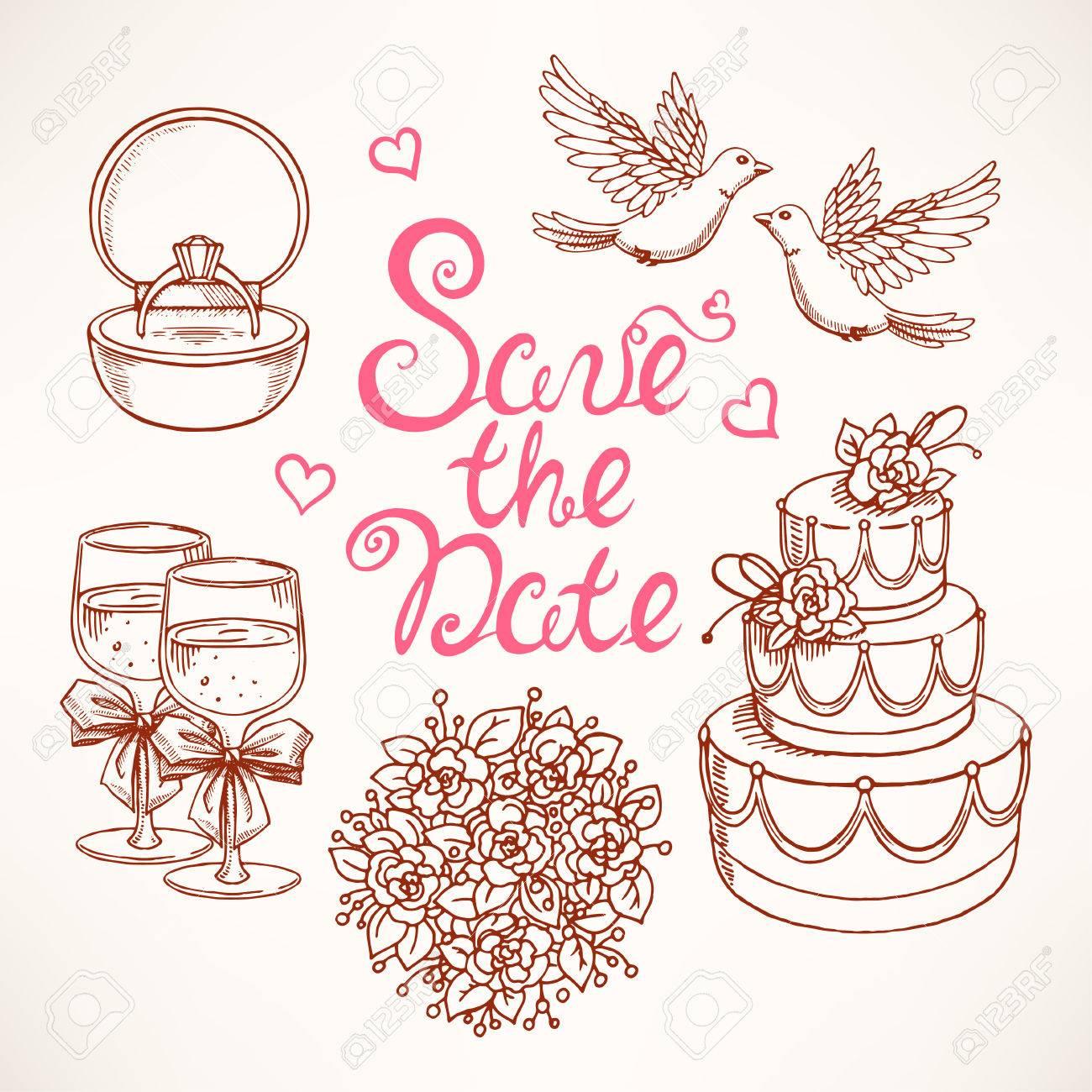 カップルのハト ウェディング ケーキ ブーケ 結婚式のためのかわいいセット 手描きのイラスト のイラスト素材 ベクタ Image