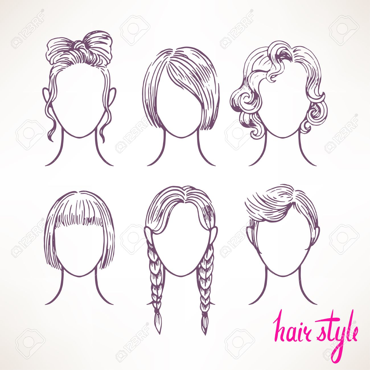 set with different hairstyles. hand,drawn illustration , 2