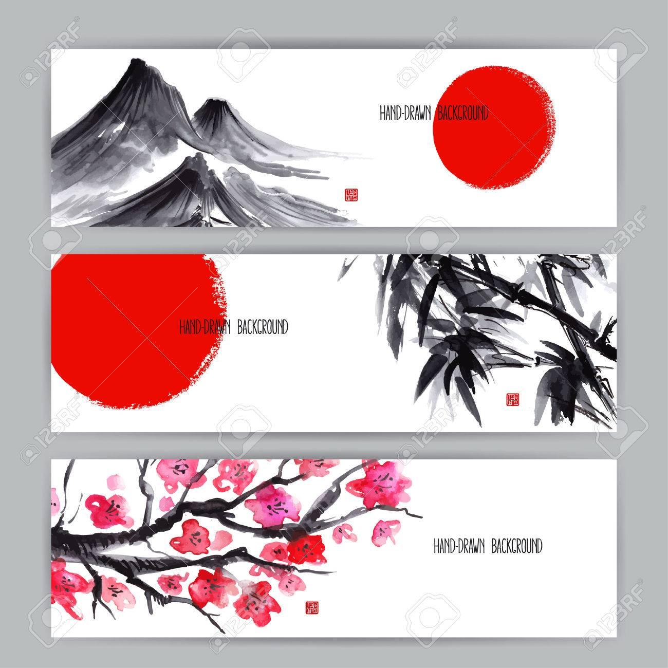 three beautiful banners with Japanese natural motifs. Sumi-e. hand-drawn illustration - 40920162