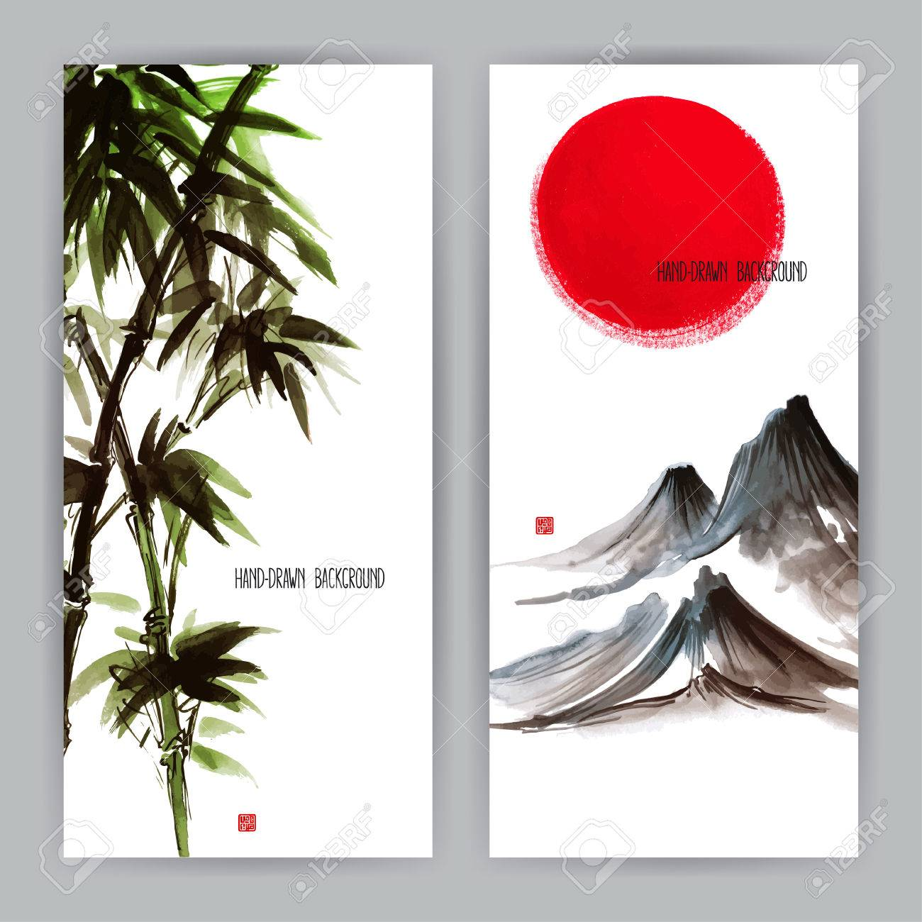 two beautiful banners with Japanese natural motifs. Sumi-e. hand-drawn illustration - 41618877