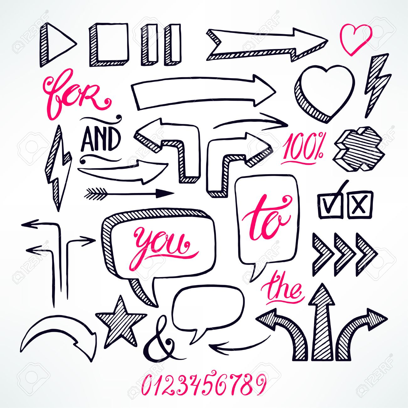 vector set of hand-drawn arrows and bubbles icons on white background - 42604832