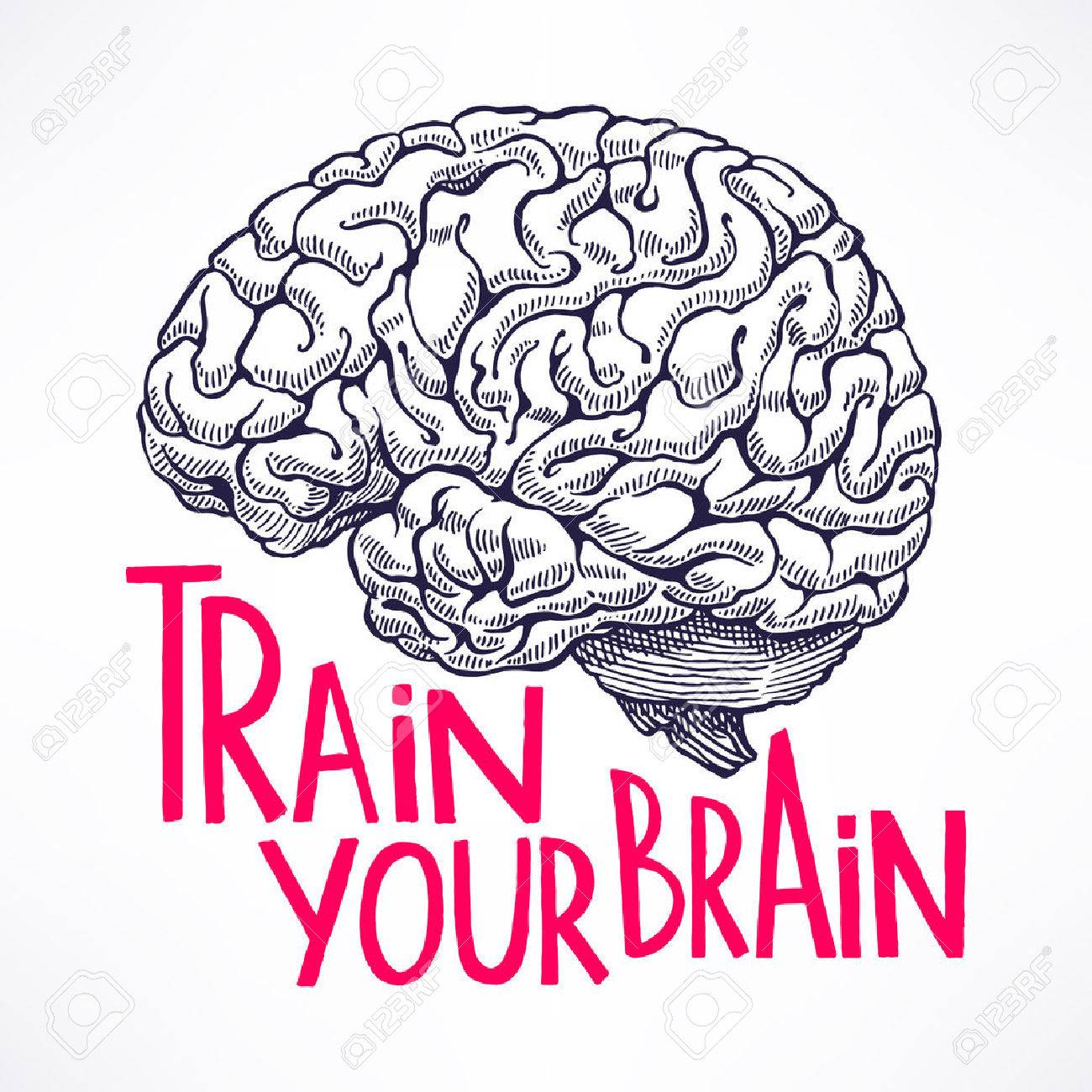 Train your brain. beautiful card with a human brain and motivational quote. hand-drawn illustration - 44907991
