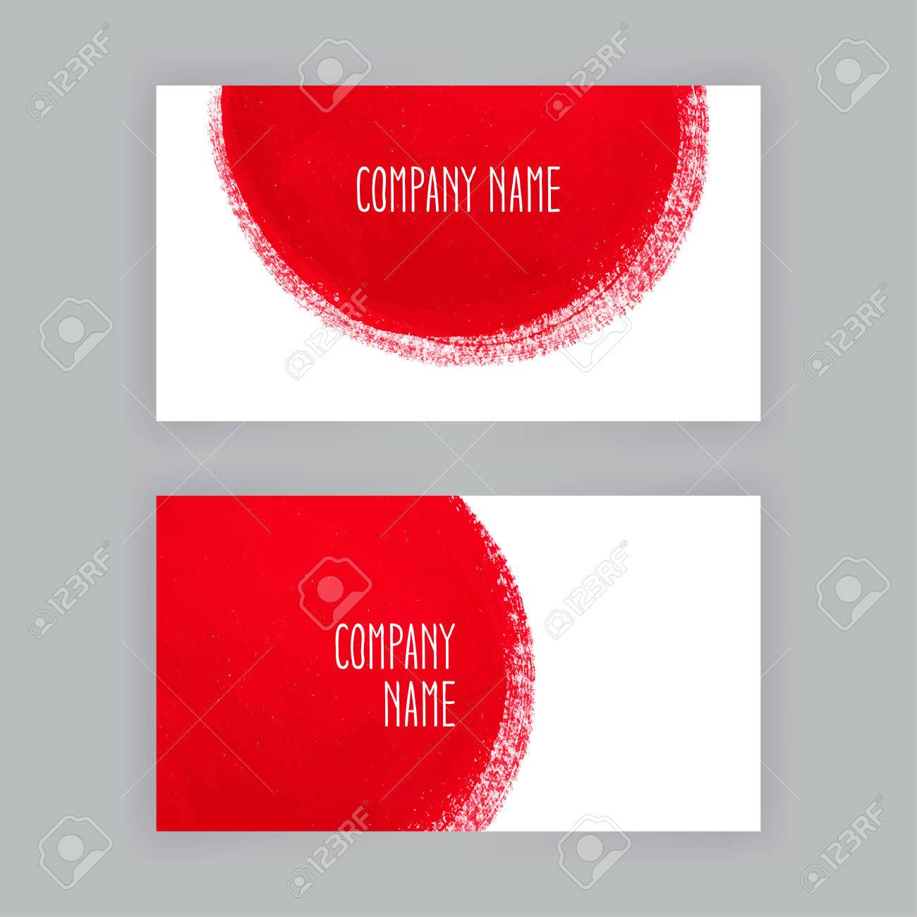 Round business card image collections free business cards two business cards template with hand painted round red brush two business cards template with hand magicingreecefo Image collections