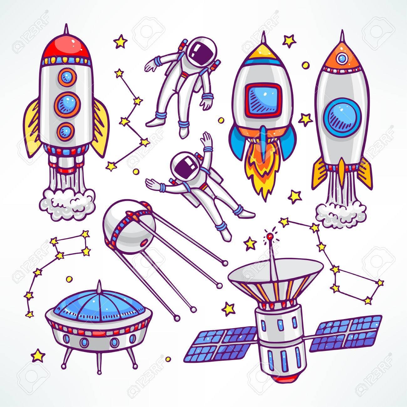 かわいいロケットと宇宙飛行士の宇宙のセット手描きイラストのイラスト