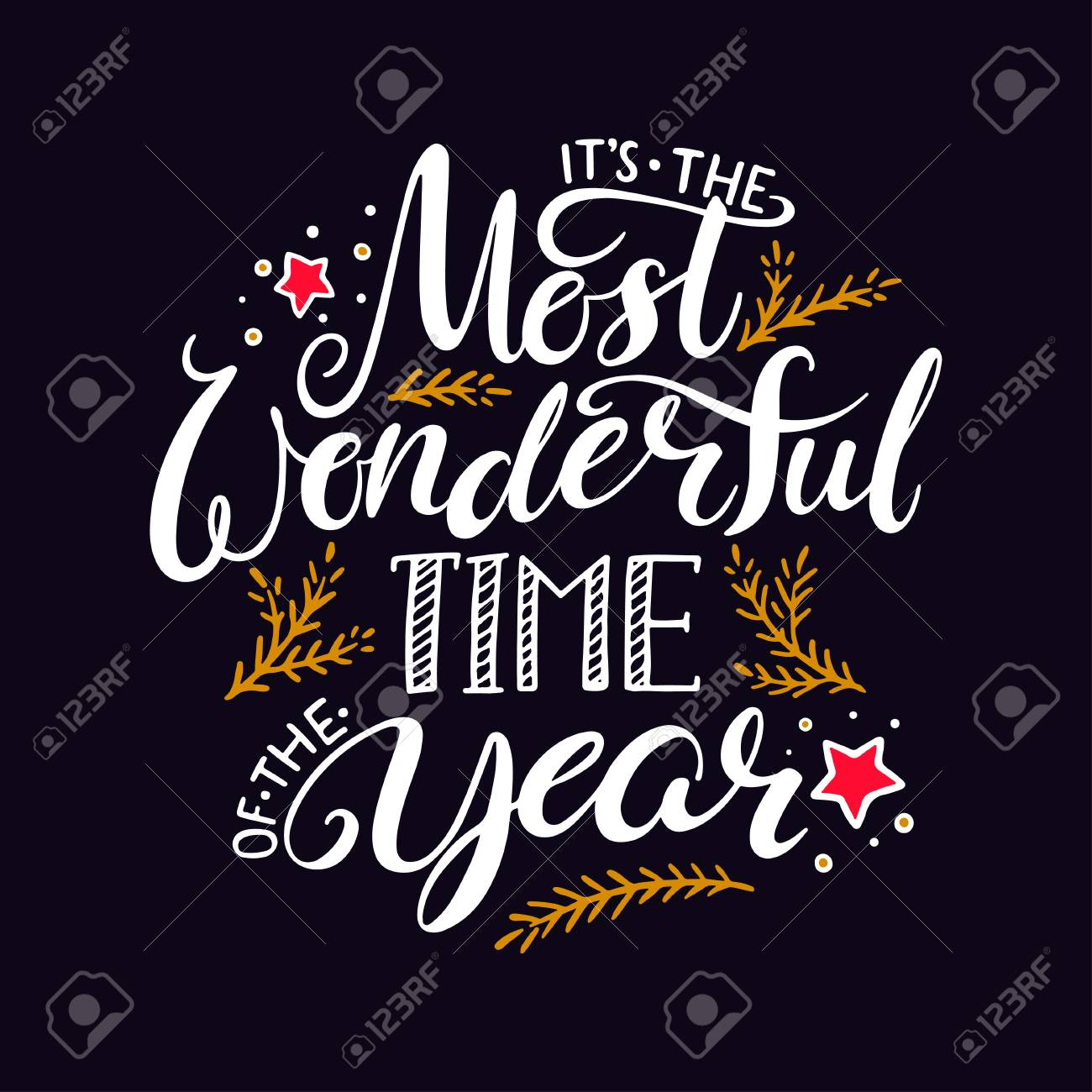 the most wonderful time of the year. hand written christmas lettering on black background - 68634607