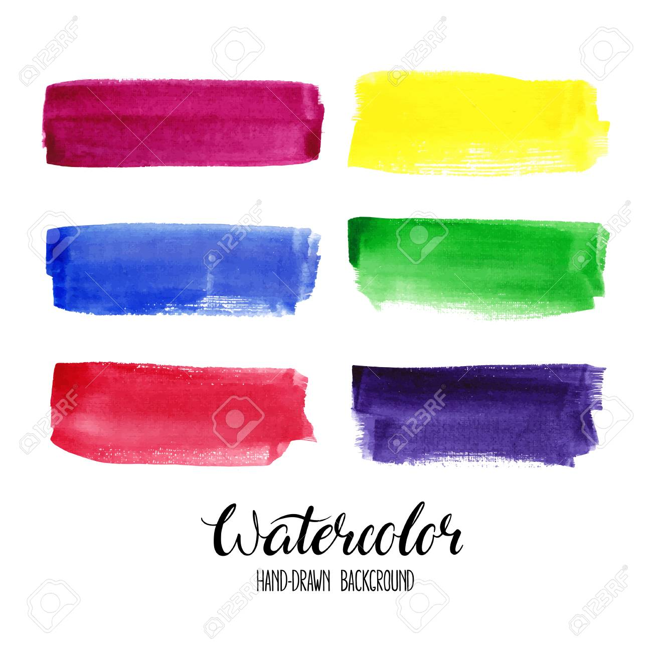 set of six colorful watercolor stroke backgrounds - 68819381