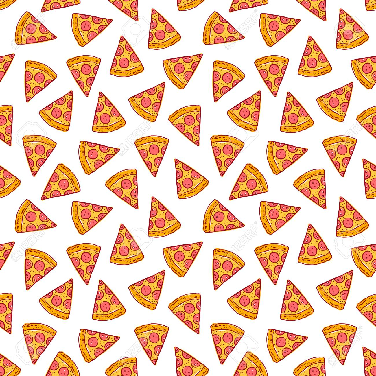 Cute seamless background of delicious pizza slices. hand-drawn illustration - 86203781
