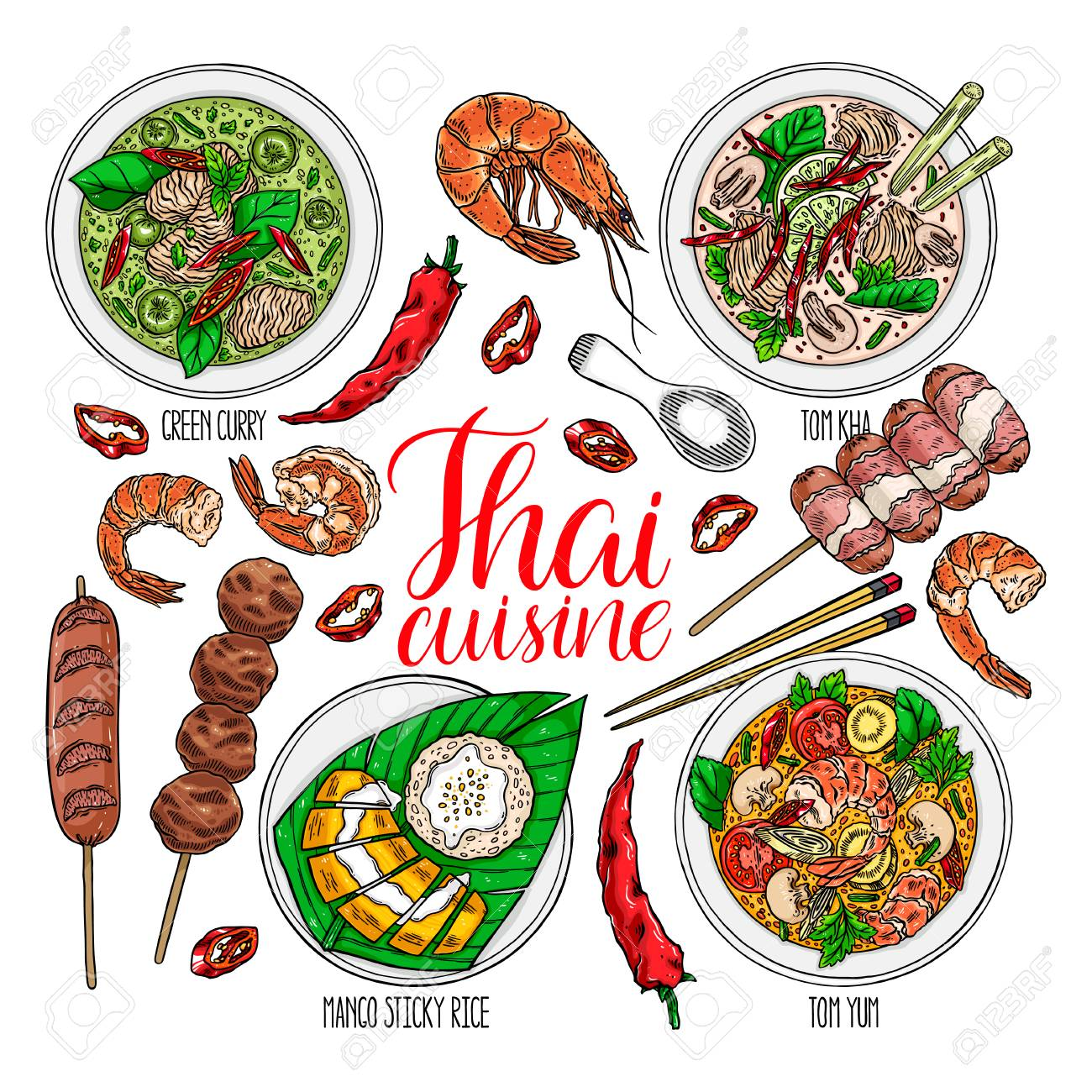 cute set of thai cuisine. Tom Yum kung, Green curry, Tom Kha, fruit sticky rice, shrimps and chili. hand drawn illustration - 93072716