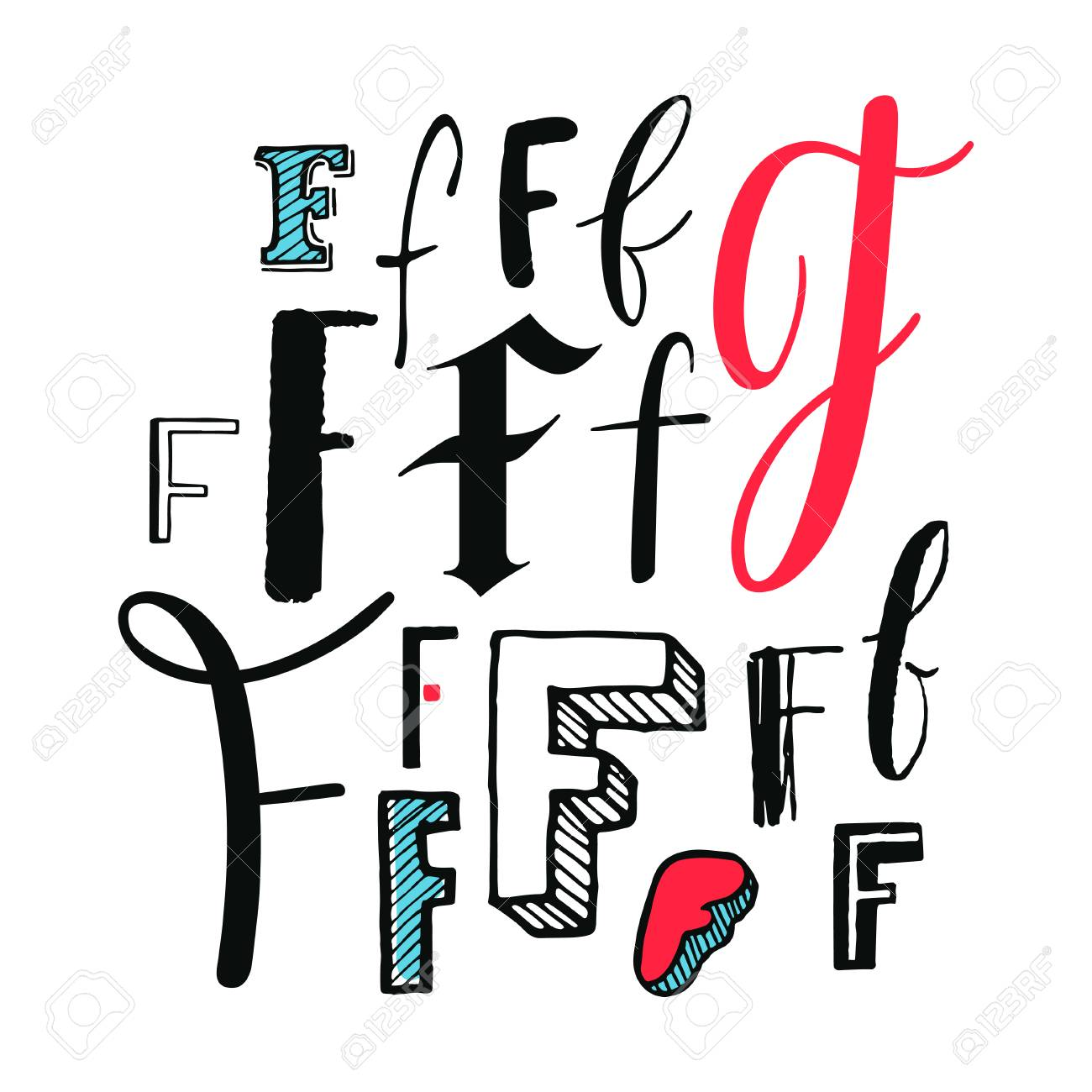 Letters F Set Different Styles Hand Drawn Illustration Royalty