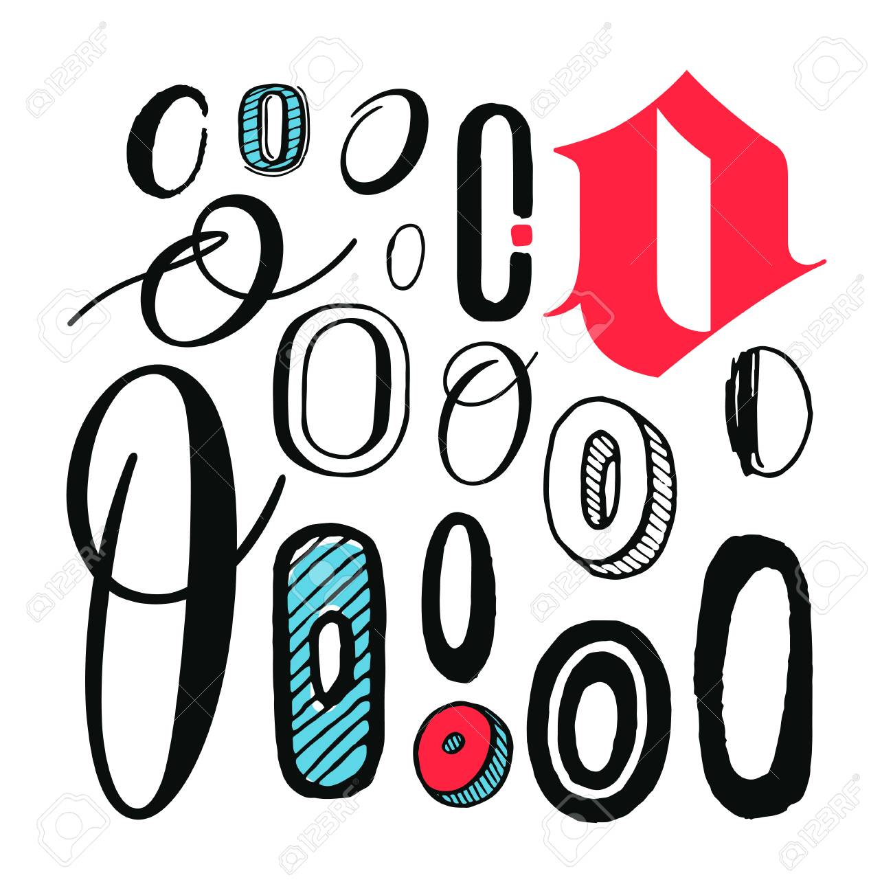 Letters O Set Different Styles Hand Drawn Illustration Royalty Free
