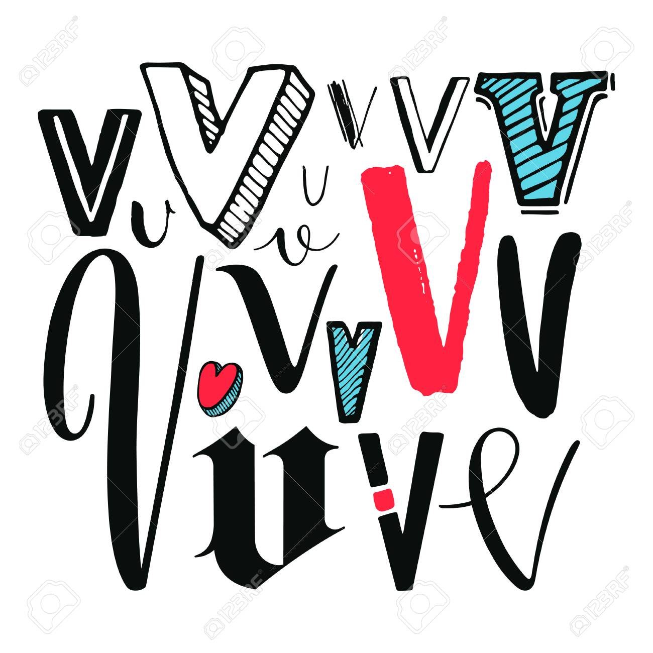 Letters V Set Different Styles HandDrawn Illustration Royalty