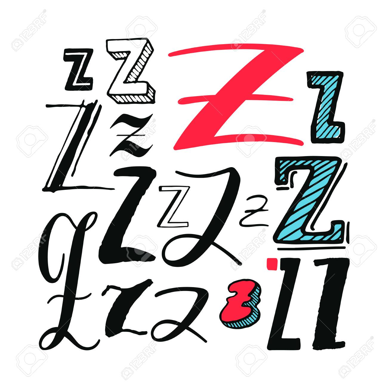 Letter Z Set Different Styles Hand Drawn Illustration Royalty