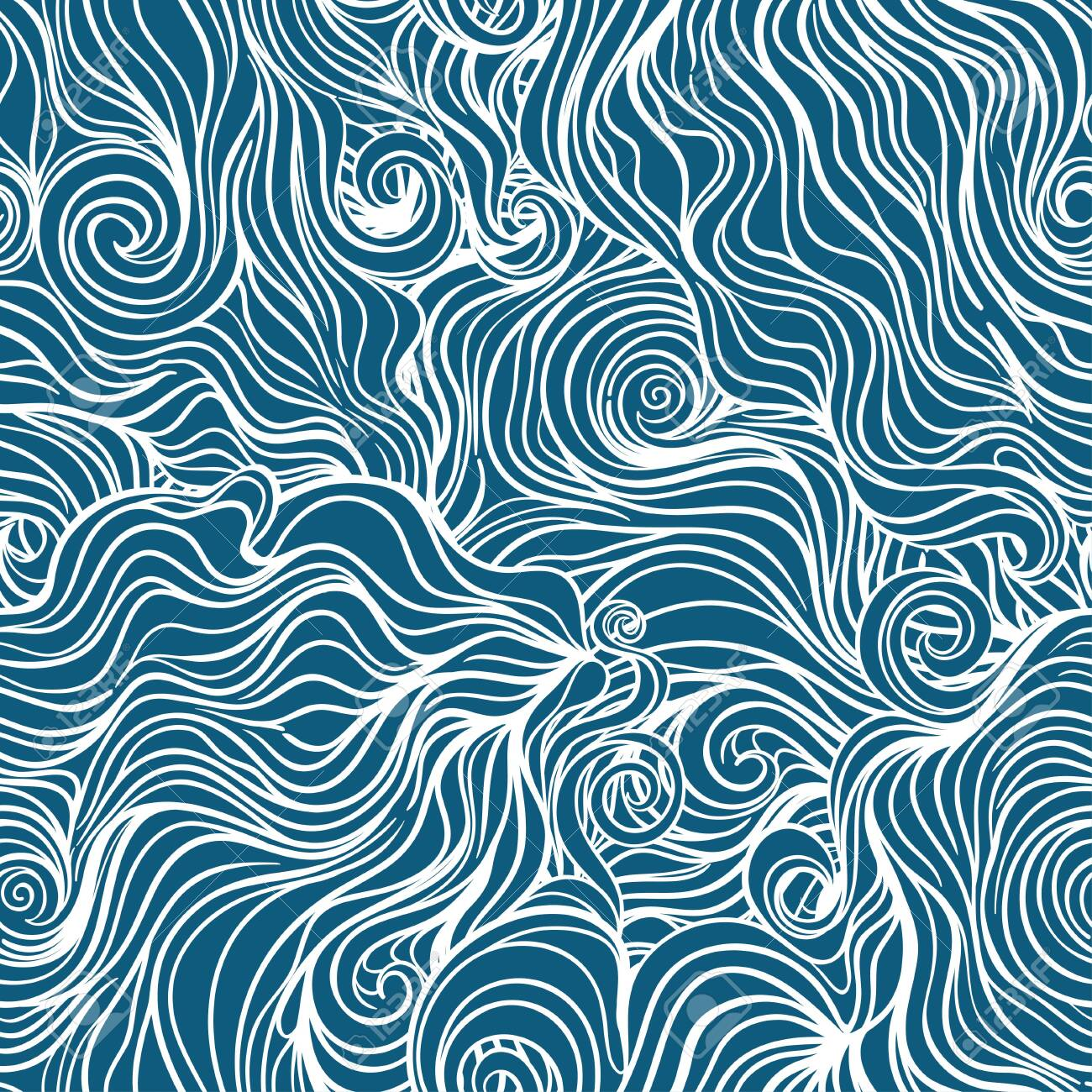 Seamless curl wave background. Vector Illustration - 140115597
