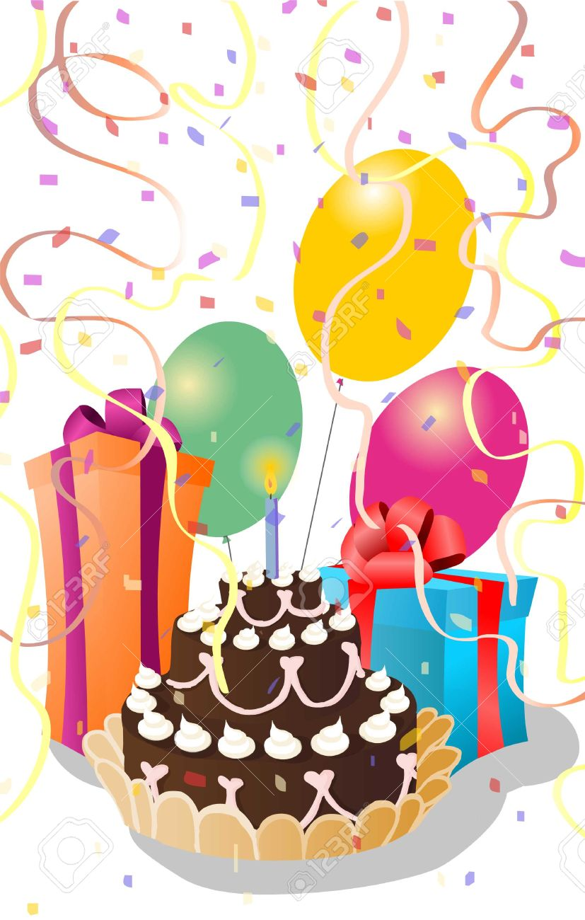 birthday greeting with ribbon and confetti Stock Vector - 5907442