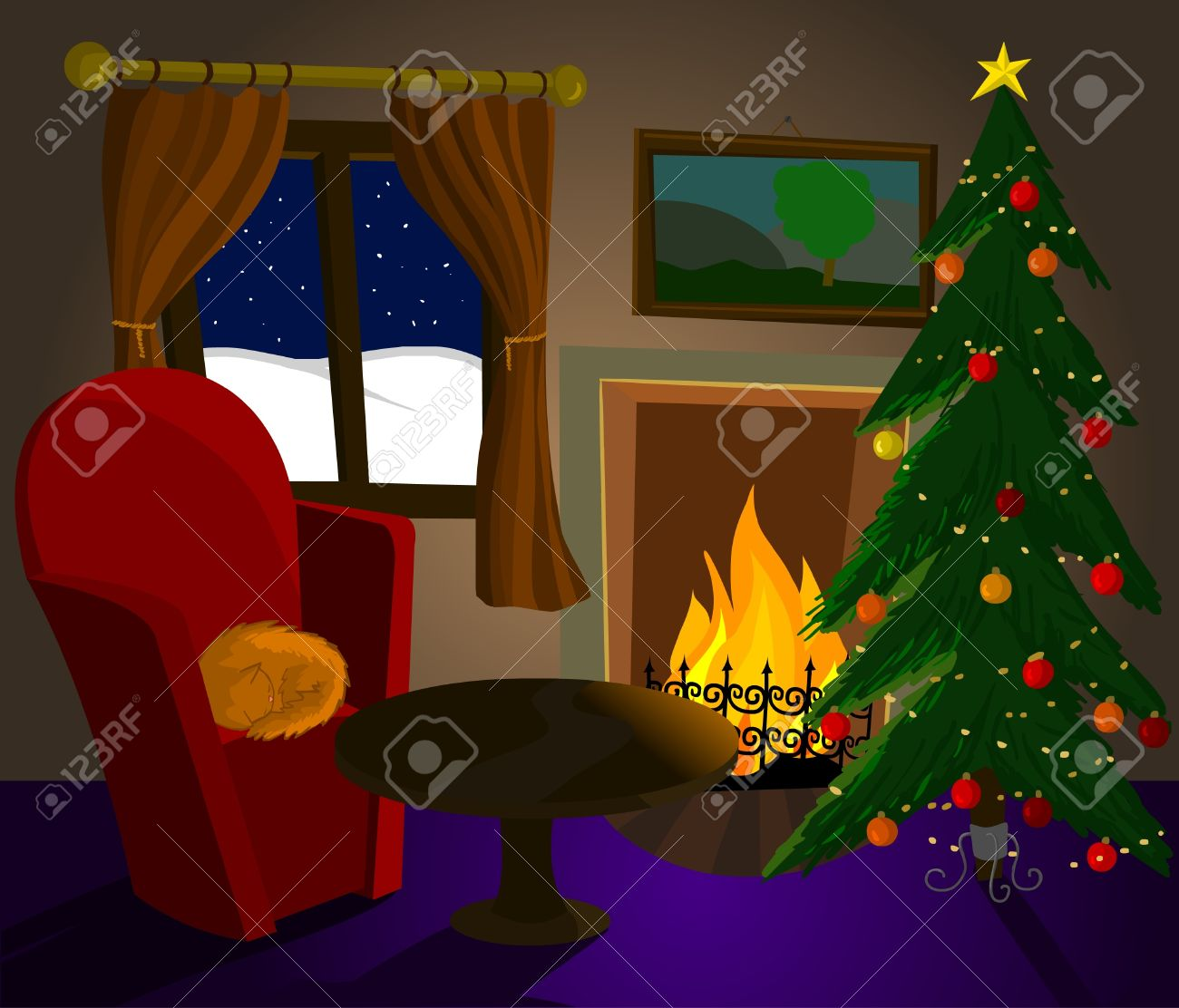 christmas room with fireplace cat and christmas tree royalty free