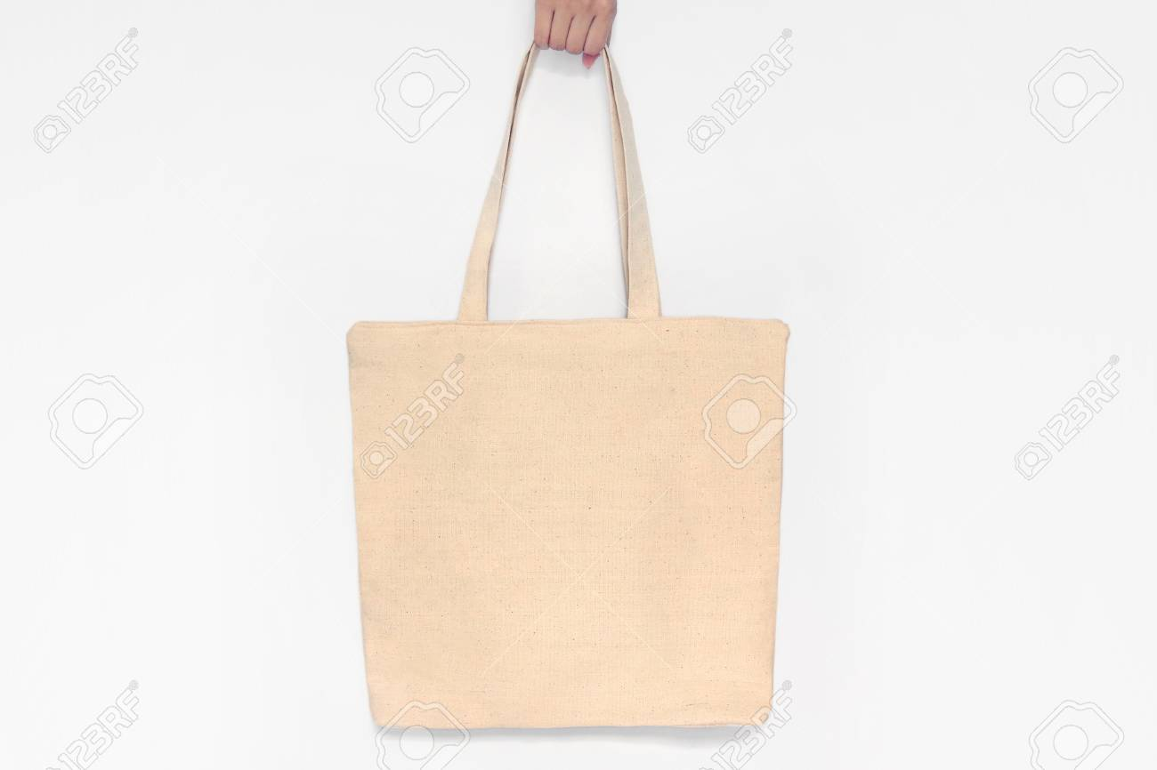 blank canvas tote bag design mockup with hand handmade shopping
