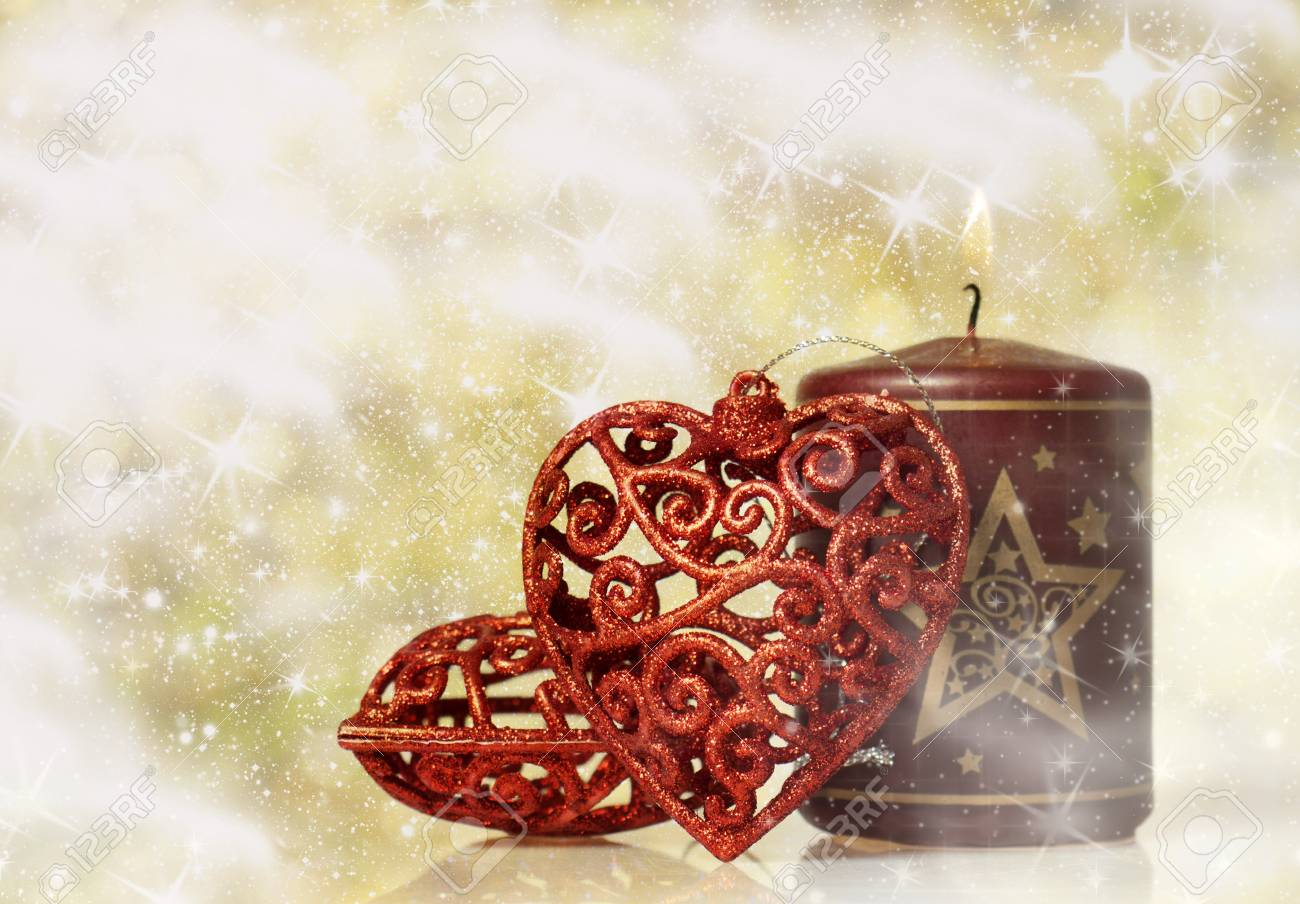 Vintage Christmas background with red hearts Stock Photo - 16782899