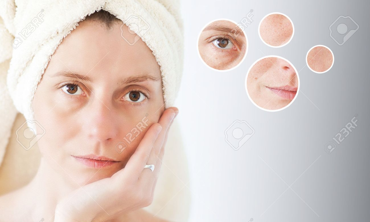 Beauty concept - skin care, anti-aging procedures, rejuvenation, lifting, tightening of facial skin - 38670939