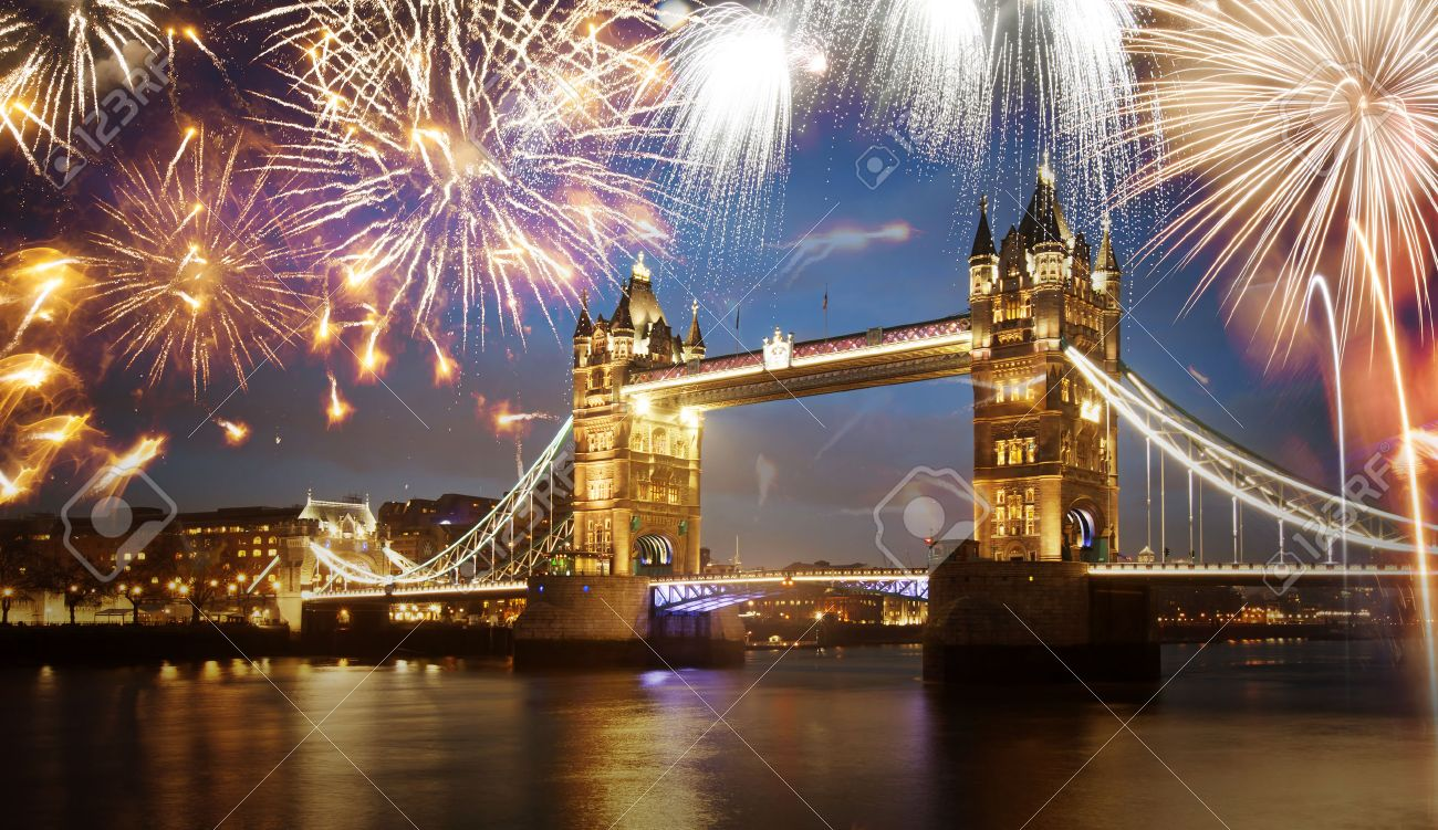 Tower bridge with firework, celebration of the New Year in London, UK - 46931767