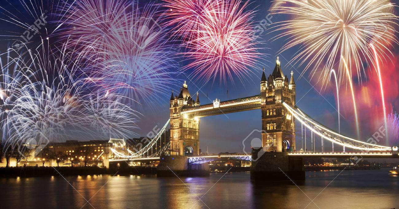 Tower bridge with firework, celebration of the New Year in London, UK - 47211154