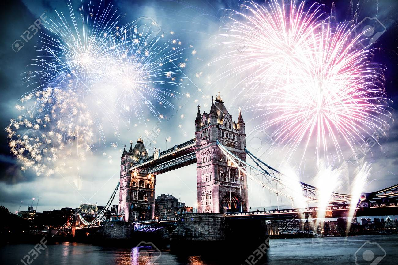Tower bridge with firework, celebration of the New Year in London, UK - 67033488