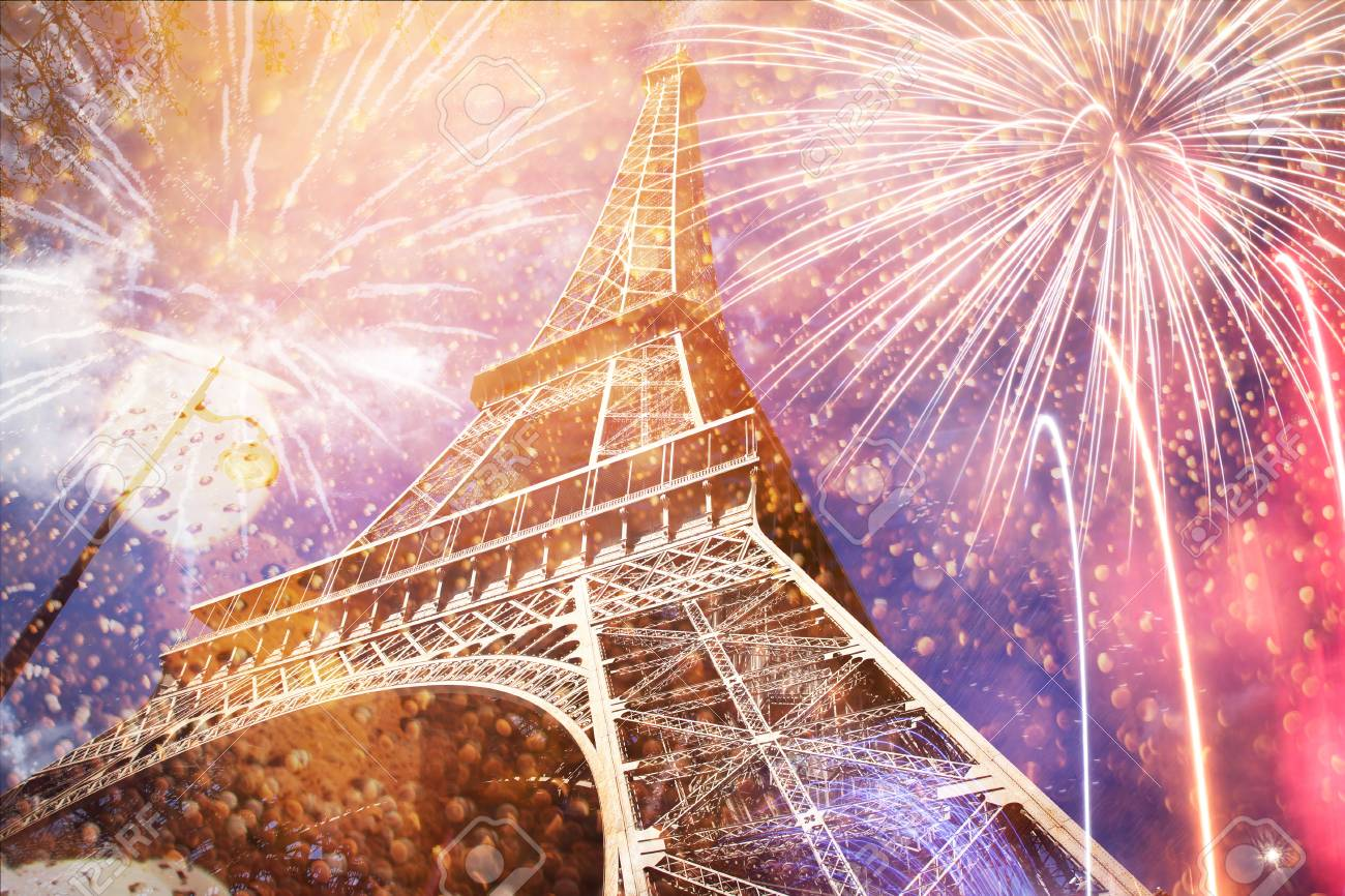 celebrating New Year in the city - Eiffel tower (Paris, France) with fireworks - 91383753