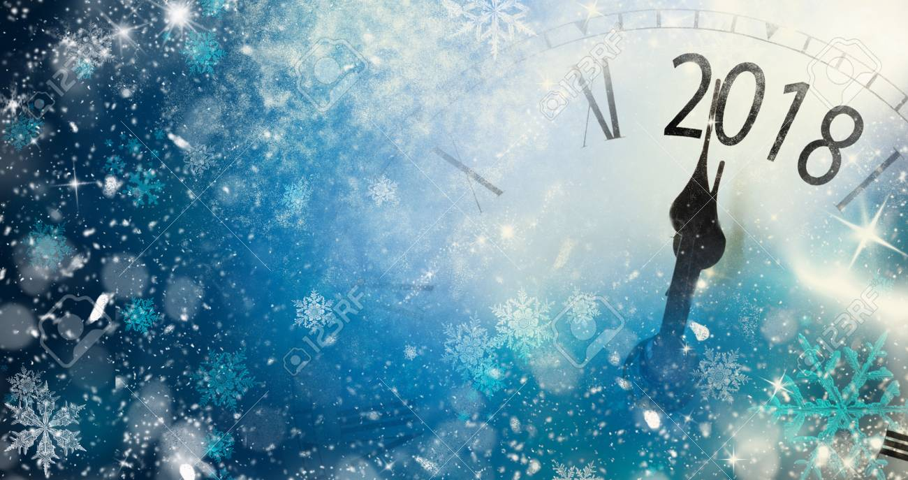 2018 New Year background with clock and snowflakes - 92217853