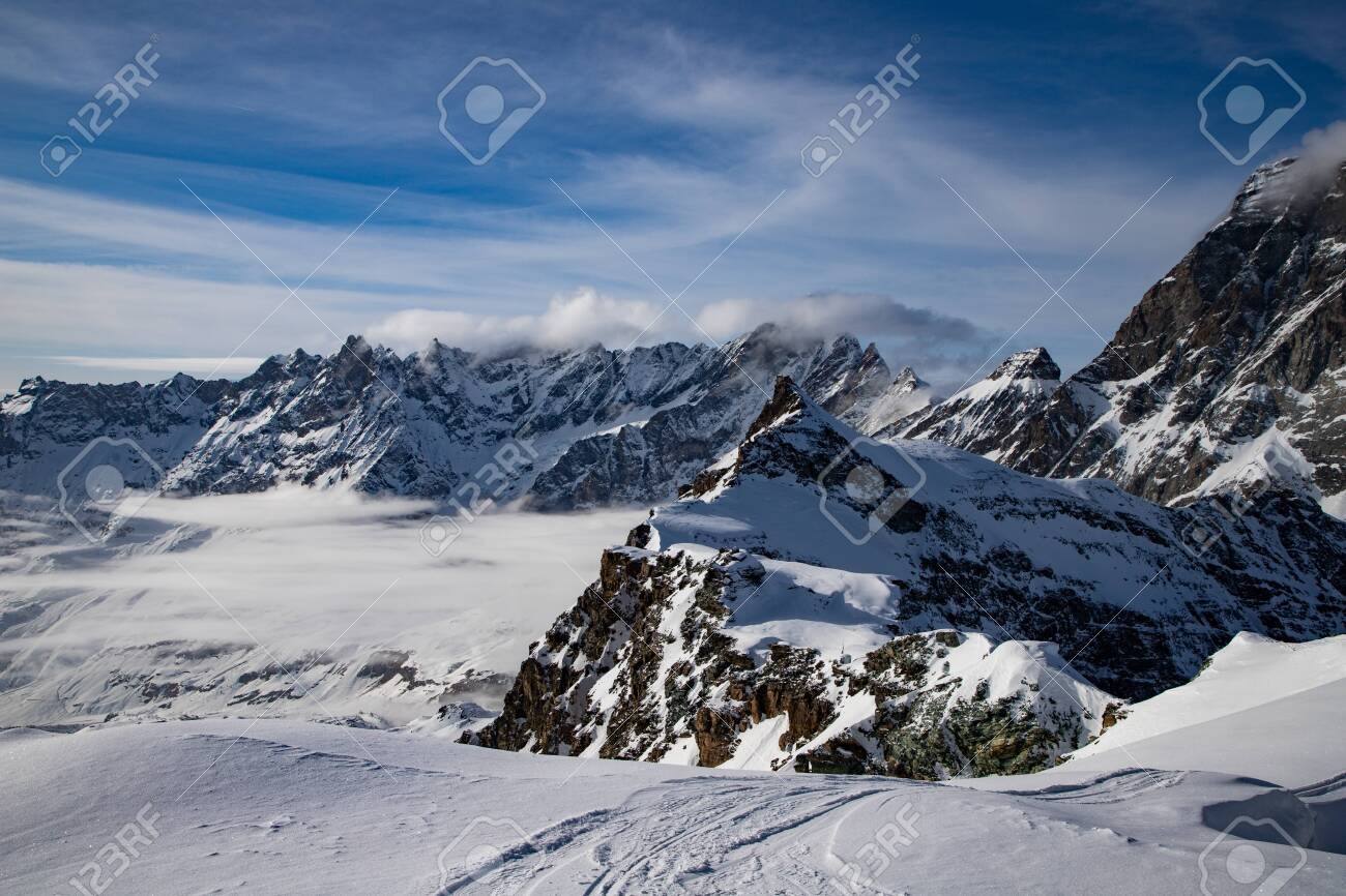 snow covered peaks in the Swiss Alps Matterhorn glacier paradise - 140278848