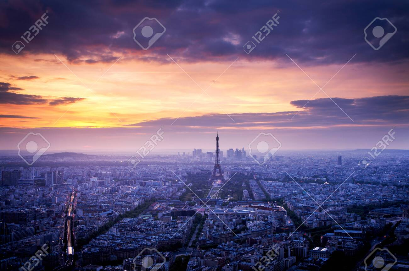 Skyline Of Paris With Eiffel Tower At Sunset In Paris France Stock Photo Picture And Royalty Free Image Image 141377353