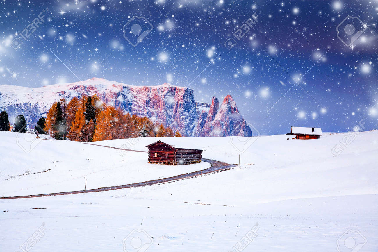 amazing winter landscape with snow at sunrise in Alpe di Siusi. Dolomites Italy - winter holidays destination - 158869229