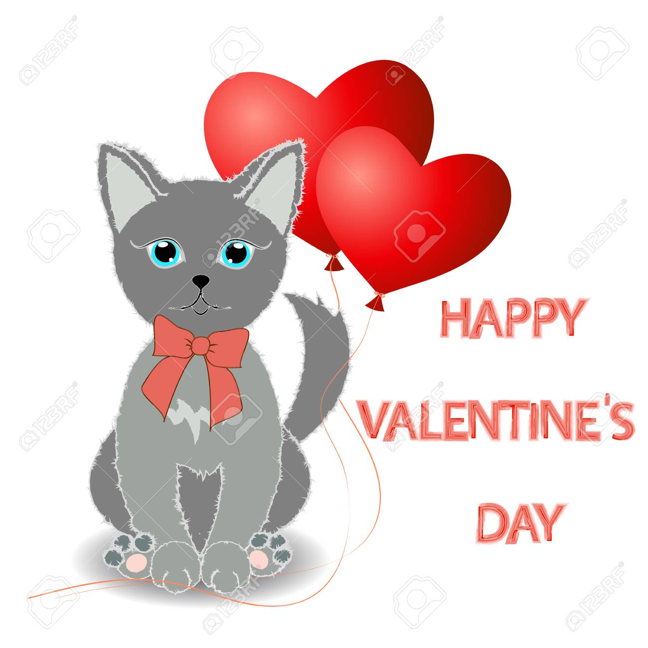 Cute Kitten Wishes Happy Valentine S Day Two Red Balloon In