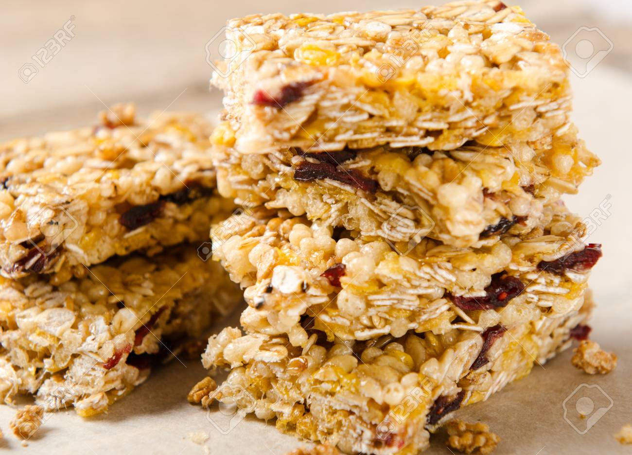 A Stack Of Granola Bars On Parchment Paper Rustic Style Healthy Food Dietary