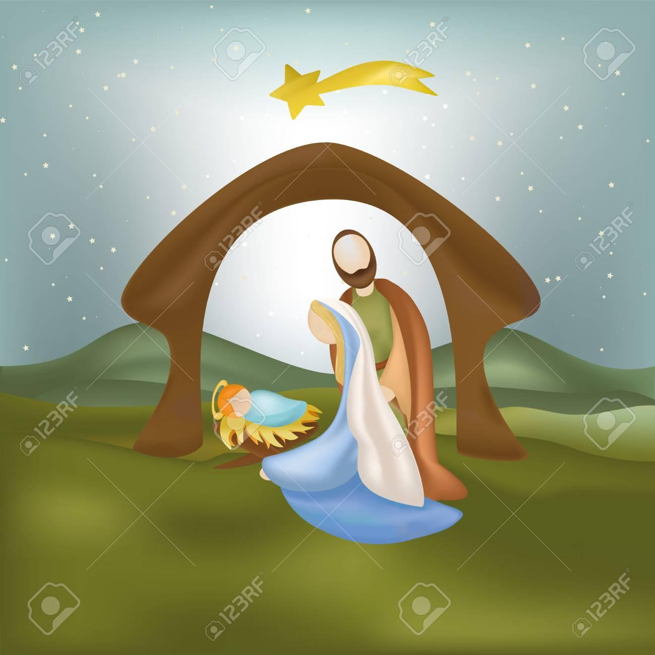 Immagini Nativita Natale.Natale Nativita Scena Con Illustrazione Famiglia Santa