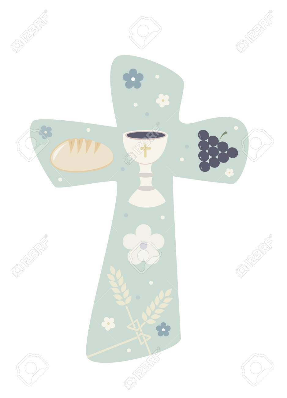 Christian cross with chalky bread and wheat illustration. - 89173522