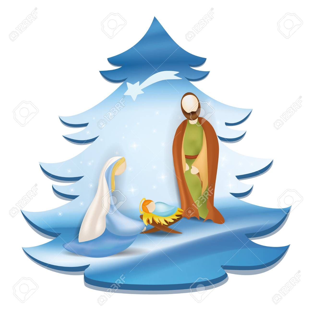 Joseph Leading Mary on a Donkey - Royalty Free Clipart Picture