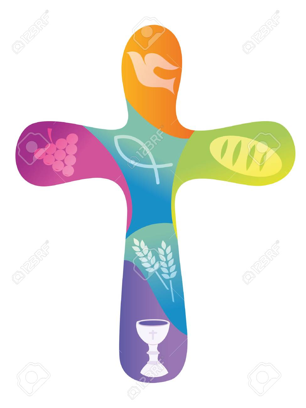 Rainbow christian cross with various symbols - 93018235