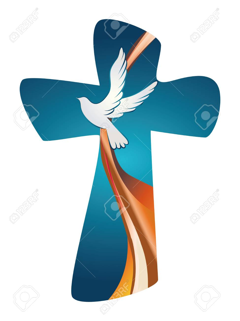 Cross with dove on a blue background - 100282836