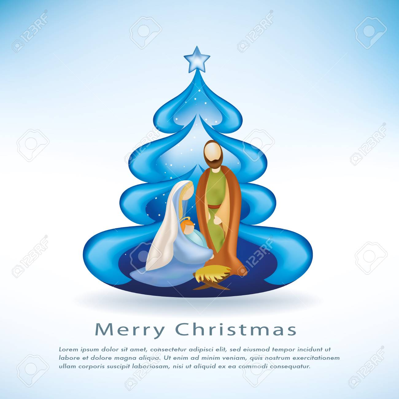 Christmas Cards With Nativity Scenes Christmas Tree On Blue ...