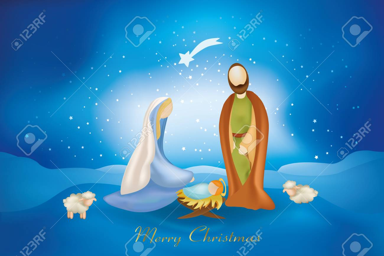 Christmas Cards With Nativity Scenes On Blue Background Royalty Free ...