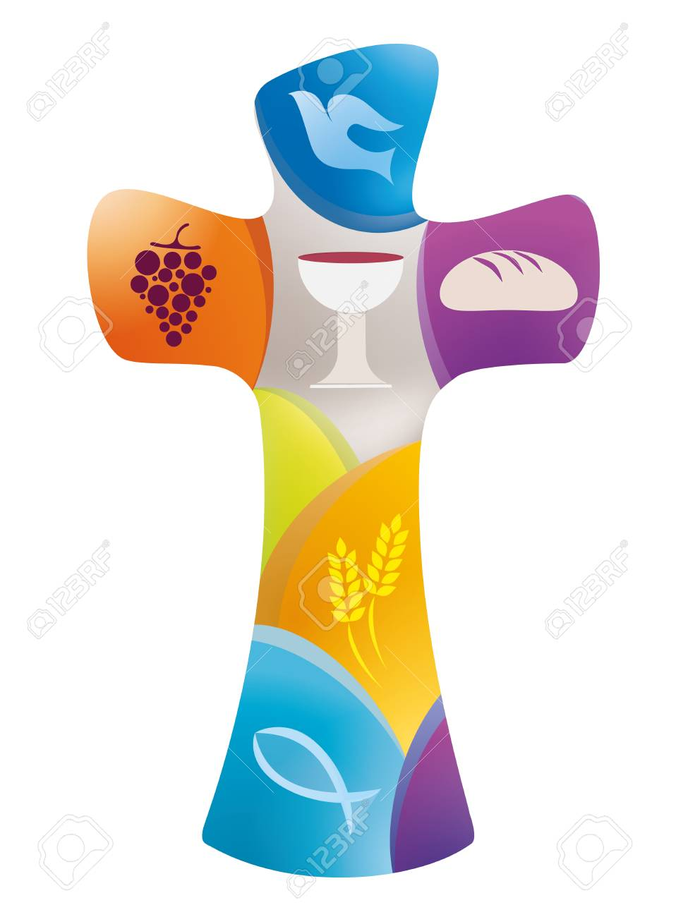 Christian cross with dove, grape, chalice, bread, ears of wheat and fish on colored background - 103326811