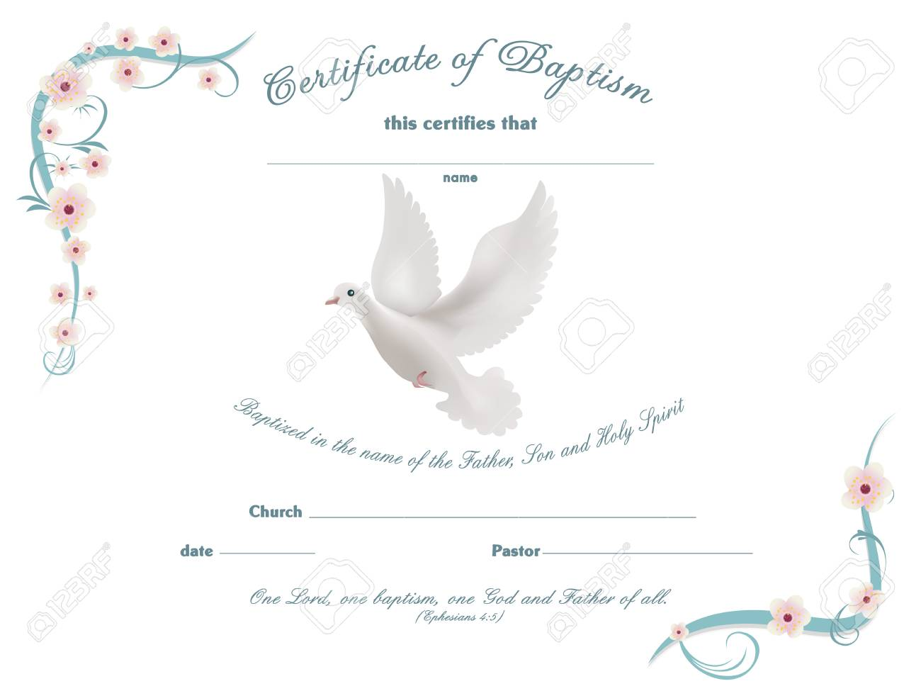 certificate baptism template with floral background stock vector 103873782