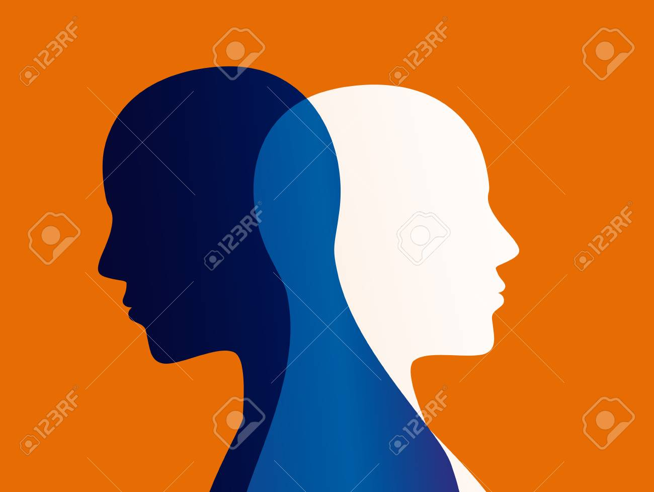 Mood disorder. Split personality. Bipolar disorder mind mental. Dual personality concept. - 110617257
