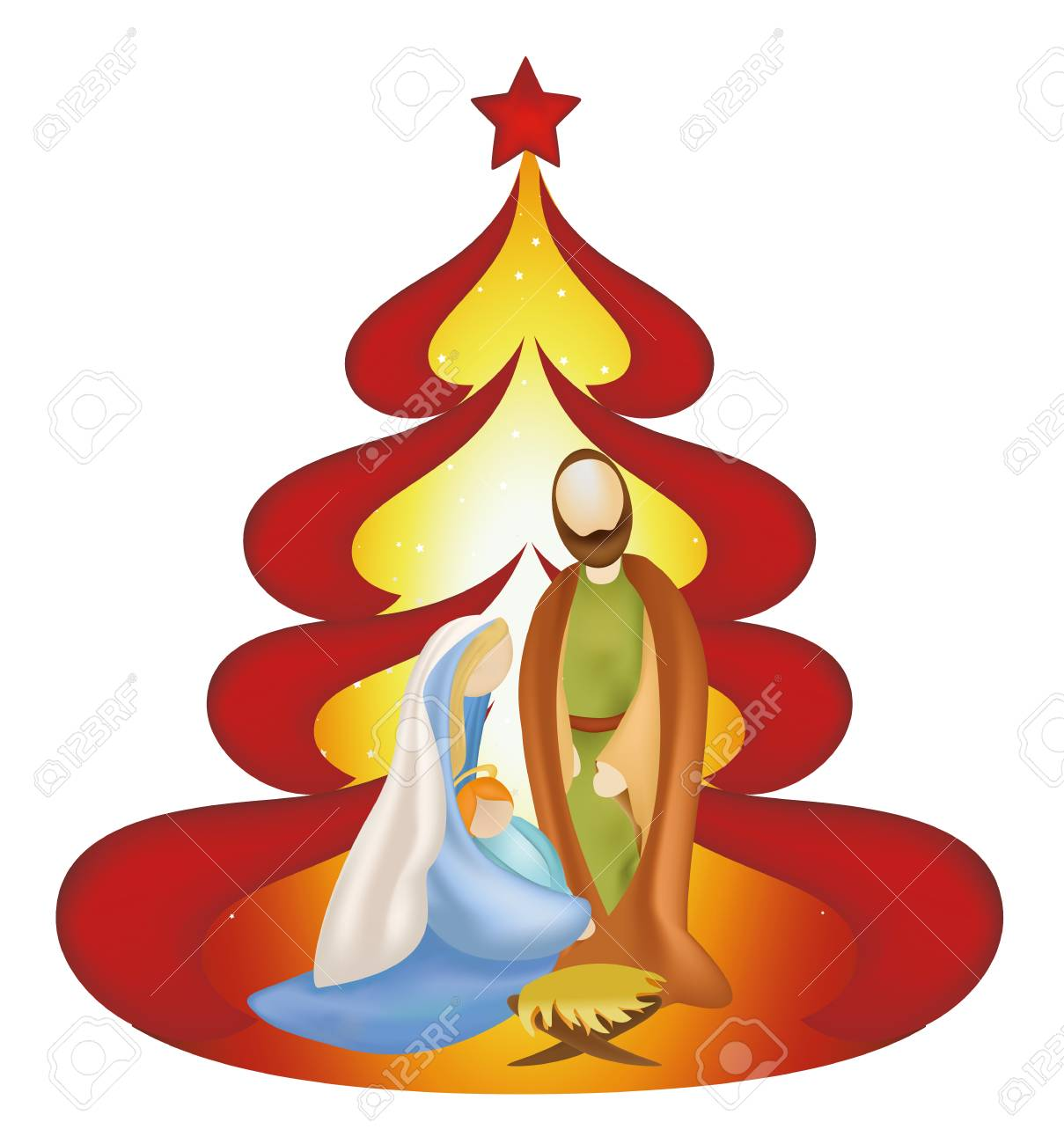 Christmas Jesus.Christmas Tree Nativity Scene With Holy Family Jesus Jesus Mary