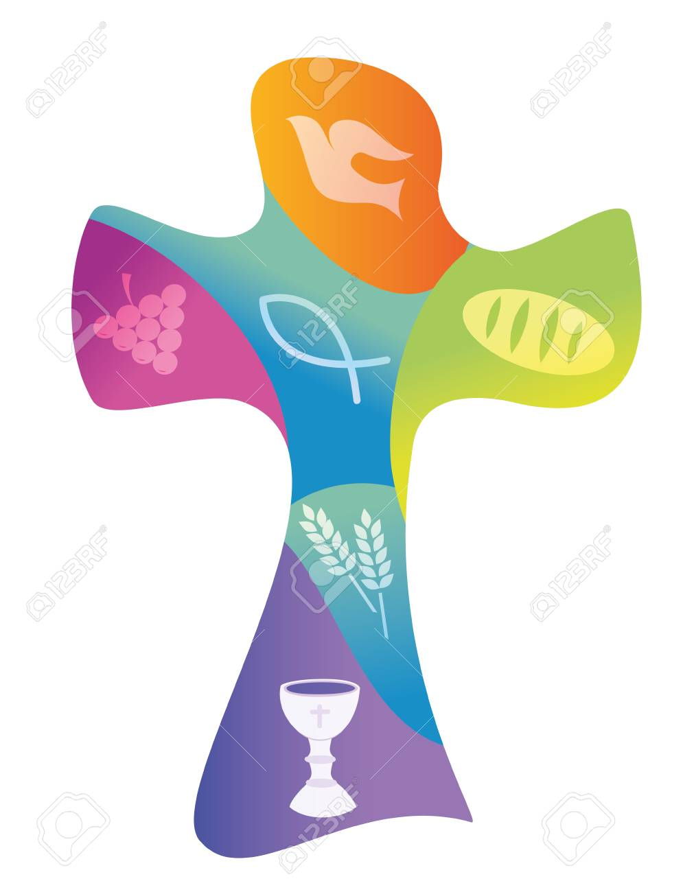Colorful christian cross with various symbols - 110617570