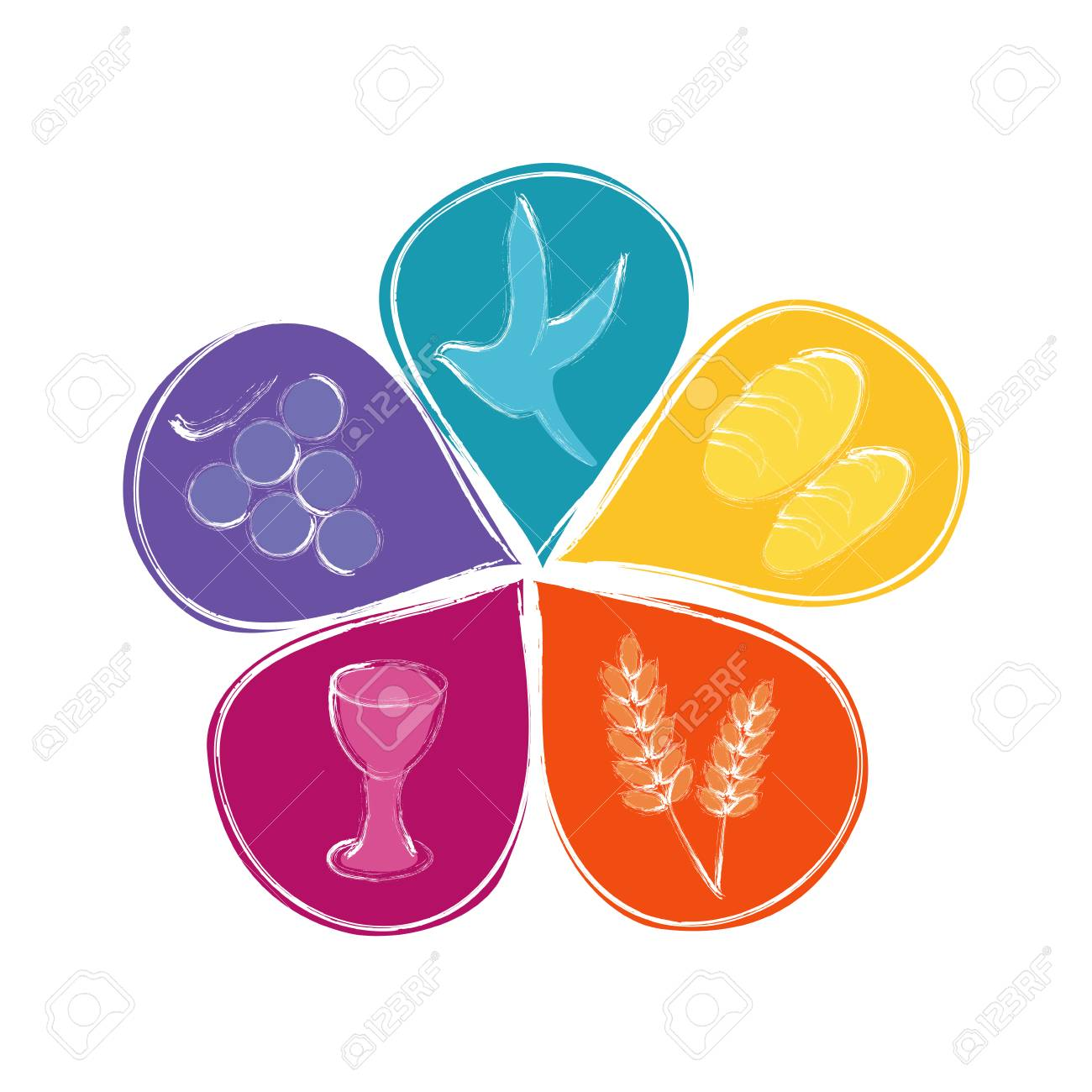 Isolated vector Christian symbols in colorful flower petals - 110617906