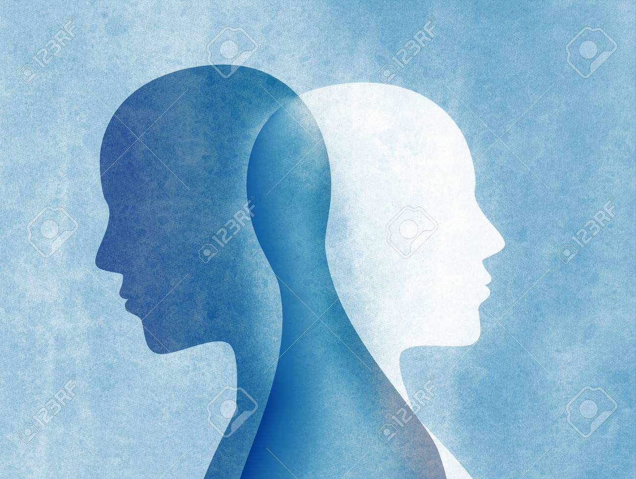 Bipolar disorder mind mental. Split personality. Mood disorder. Dual personality concept. Silhouette on blue background - 110618071