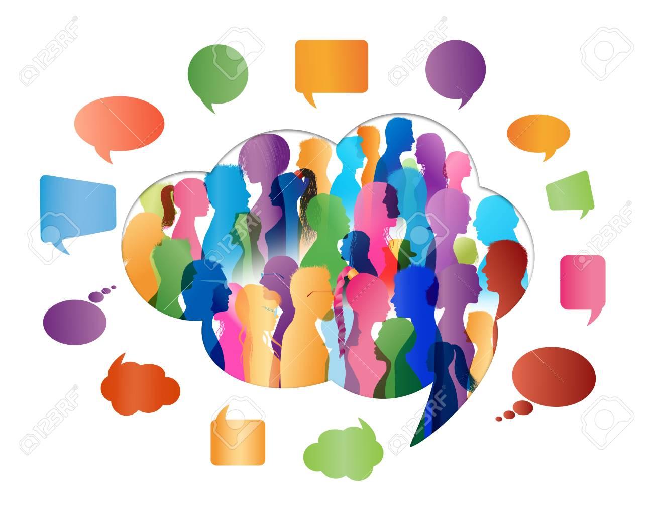 Crowd talking. Group of people talking. Speech bubble. Communication. Colored silhouette people profile in cloud shape - 113583432