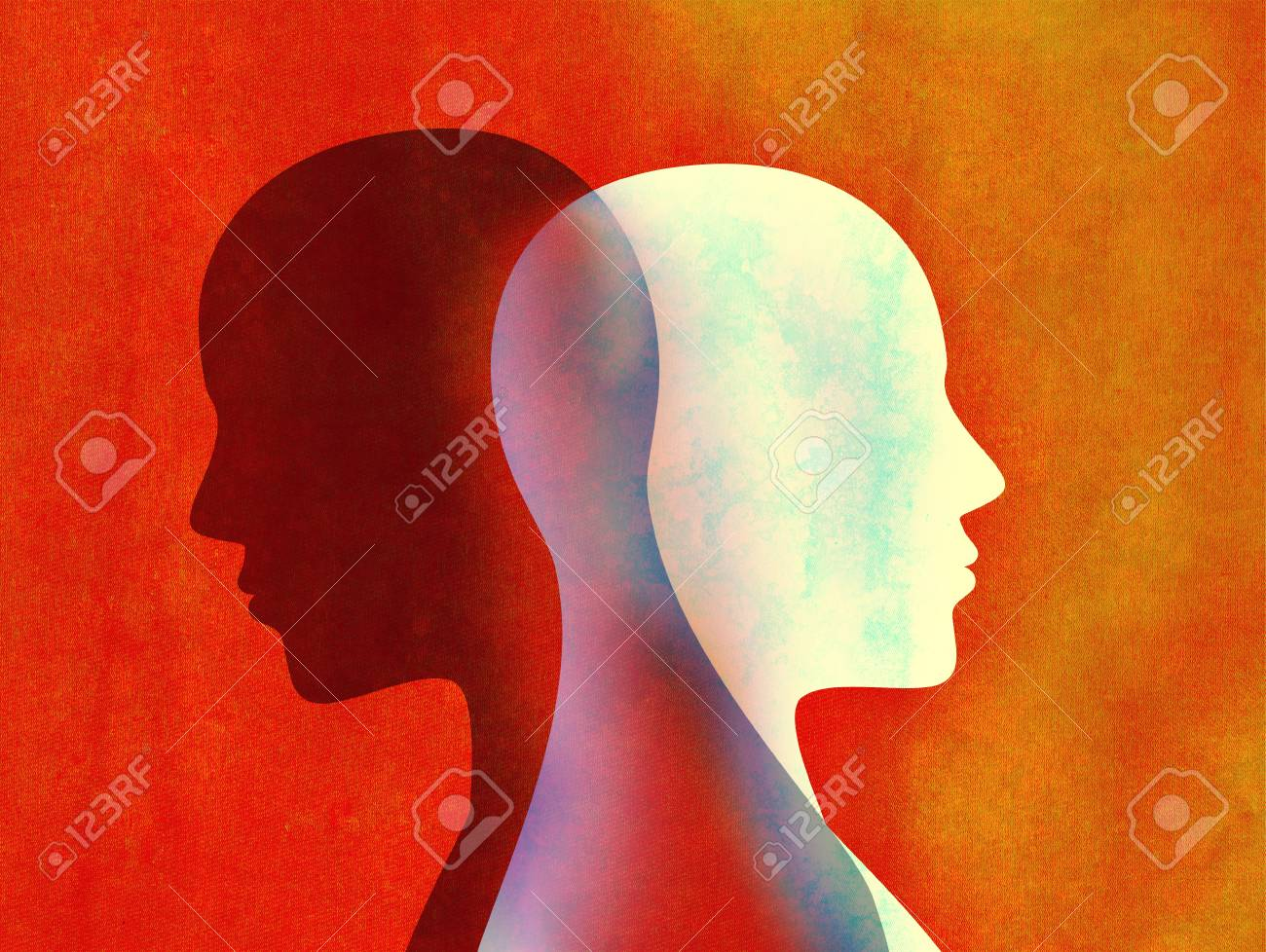 Bipolar disorder mind mental concept. Change of mood. Emotions. Split personality. Dual personality. Head silhouette of man - 117694816